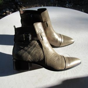 Bronze Donald J Pliner Leather Ankle Boots